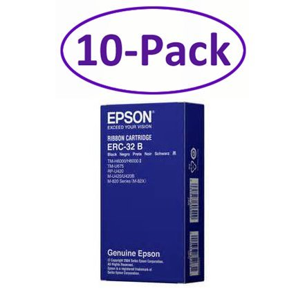 Genuine Epson 10-Pack Black ERC-32B Ink Cartridge Ribbon For: TM-H600/H6000 II/TM-U675/RP-U420/M-U420/U420B/M-820 Series (M-82X)