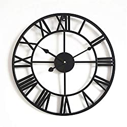 QIAO European Round Wall Clock Iron Retro Large Wall Clock Living Room Kitchen Bedroom Wall Decoration (Color : Black, Size : 58cm/22)