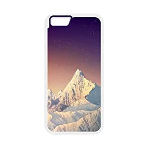 Durable Hard cover Customized TPU case Snowy Mountain with Stars iPhone 6 4.7 Inch Cell Phone Case White