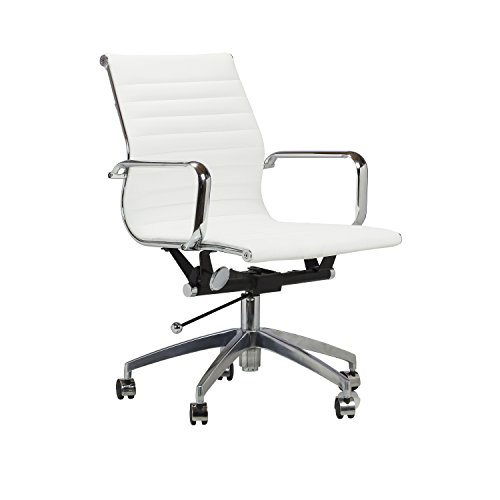 Design Tree Home Eames Style Group Management Office Chair, Adjustable, Top-Grain White (Charles Desk Chair)