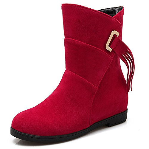 Anluke Mid Calf Boots For Women Fur Lined Fashion Cow Split Suede ...