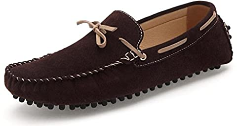 2018-2-Brown-9 Men's Fashion Dress Casual Leather Flats Driving Moccasin Loafer Shoes US 9 - 2 Leather Casual Shoe
