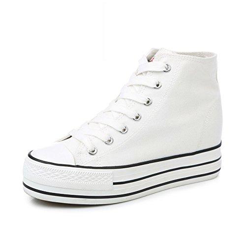 Zapatos De Lona,Los Estudiantes Muffin Son Primavera Zapatos Minimalistas Clásico,Invisible Alto Blanco Zapato C