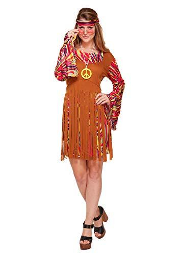 Rimi Hanger Adult Womens Cool Hippie Set Fancy Dress Costume Ladies 60s 70s Hippy Girls Dress One Size ()