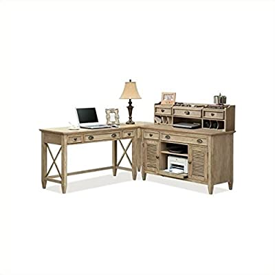 Riverside Furniture Coventry Writing Desk in Weathered Driftwood - Center drop-front drawer with 2-outlet powerbar, removable pencil tray, ballbearing extension guides Weathered driftwood finish. Distressed finishes include any of deliberate scrapes, scuffs, marks, burns, brushing, burnishing, weathering and other details for a specific designer antique look. Two outside drawers with dovetail construction, ballbearing extension guides, and removable dividers - writing-desks, living-room-furniture, living-room - 41bIKy3lJTL. SS400  -