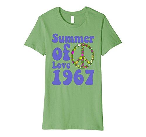 Womens 1967 Summer of Love Retro Tees Sixties Flower Power Shirt Large Grass