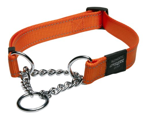 ROGZ Utility Large 3/4-Inch Reflective Fanbelt Obedience Half-Check Dog Collar, Orange ()