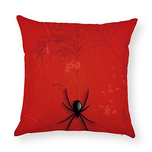 SUNONE11 Scared Halloween Spider Pillowcase Spiderweb Throw Pillows Cover Decorative for Sofa Couch Back Cushion Case Protector 17 x 17 inch Square Holiday Decor (Spider Pillow)