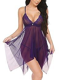 Avidlove Women Lingerie Lace Babydoll V Neck Sleepwear Nightwear