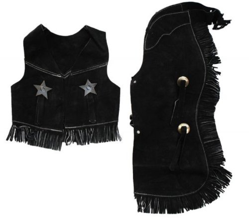 Cowboy Outfits For Kids (Childrens Western Vest & Chaps Set-black or Brown Suede Leather, S, M or L (Large7-10Black))