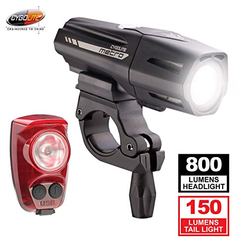 Cygolite Metro Plus 800 & Hotshot Pro 150 Bicycle Light Combo Set