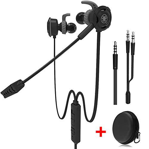 Wired Gaming Earphone with Adjustable Mic for PS4,Laptop Computer, Cellphone, DLAND E-sport Earburds with Portable Earphone Bags, Snug Soft Design, Inline Controls for Hands-free Calling. (Black )