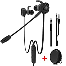 Wired Gaming Earphone with Adjustable Mic for PS4, Xbox, Laptop Computer, Cellphone, MAXIN E-sport Earburds with Portable Earphone Bags, Snug and Soft Design, Inline Controls for Hands-free Calling. ( Black )