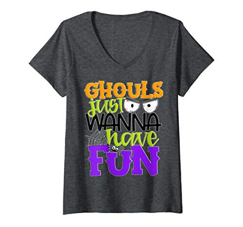 Womens Ghouls Just Wanna Have Fun Cute Girls Kids Party Halloween V-Neck