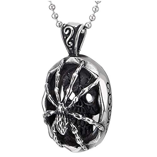 COOLSTEELANDBEYOND Mens Womens Steel Vintage Spider Skull Oval Pendant Necklace, Silver Black, 30 inches Ball Chain