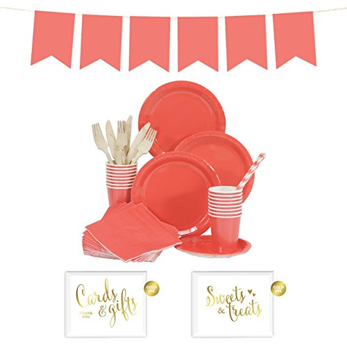 Andaz Press Complete 70-Piece Tableware Kit for 8 Guests, Coral, Includes Plates, Cups, Napkins, Spoons, Forks, Straws, Party Signs, Hanging Pennant Banner Decorations, 1-Set, Wedding Bridal Shower (Coral Colored Napkins Paper)