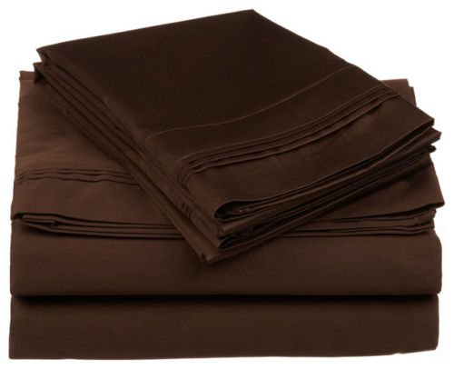 Luxurious Finish Comfortable Sleeper Sofa Bed Sheets Set, Egyptian Cotton - Solid Chocolate (Queen Size 60