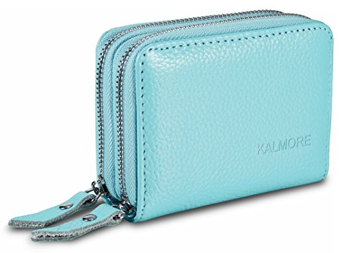 Women's Genuine Leather RFID Secured Spacious Cute Zipper Card Wallet Small Purse (Sky Blue)