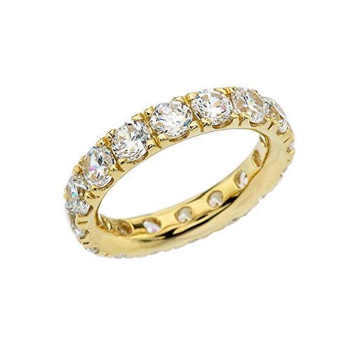 14k Yellow Gold 4mm Comfort Fit Eternity Band With White Topaz (Size 10) by Modern Contemporary Rings