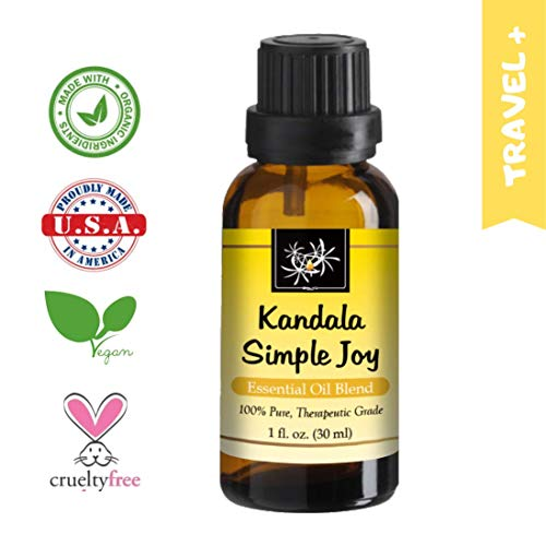 Kandala Simple Joy 100% Essential Oil Blend, 30ml, Relieve Depression, Sadness, Anxiety with uplifting scents of Lavender, Ylang Ylang, Palmarosa, Mandarin. Therapeutic Grade, Mind & Soul Aromatherapy
