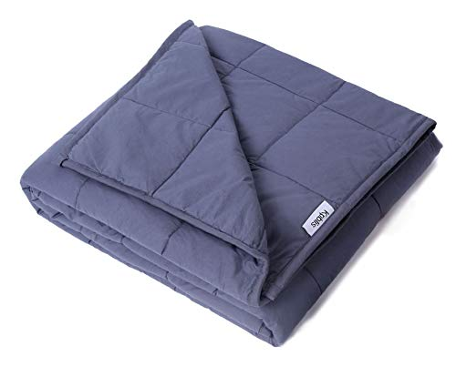 "Price comparison product image Kpblis Weighted Blanket 15 lbs 60"" x 80"", 100% Cotton Fabric Full Size Blankets Adult, Dark Gray"