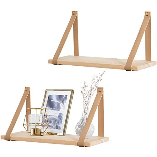 Mkono Hanging Shelf Wall Wood Floating Storage Shelves Leather Strap Swing Organizer, Set of 2