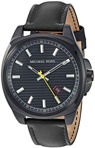 Michael Kors Men's Bryson Stainless Steel Analog-Quartz Watch with Leather Strap, Black, 20 (Model: MK8632) (Michael Kors Watch Men Leather)