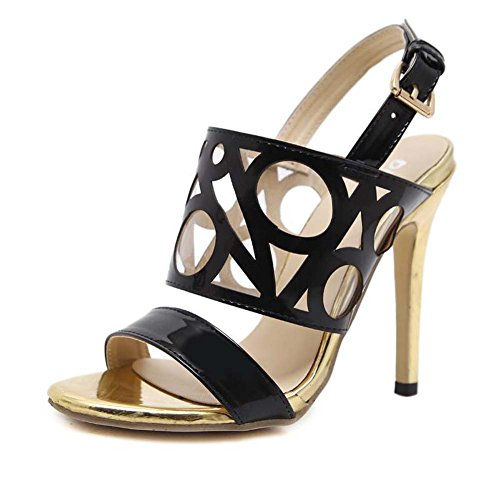 Roma Belt 12cm Ankel Tamaño OL Colormatch Toe 34 Strape Open 40 Stiletto Sandals Buckle Shoes Shoes Shoes Casual Fashion Court Hollow Dress Pump Eu Black Mujeres Slingbacks pxfqUn6
