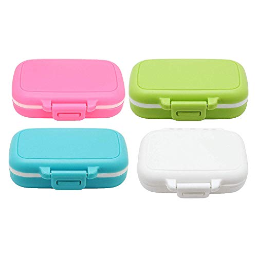 Meta-U Small Pill Box Supplement Case for Pocket or Purse - 3 Removable Compartments Travel Medication Carry Case - Daily Vitamin Organizer Box (Pink+White+Blue+Green)