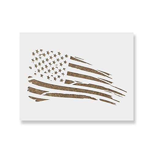 American Flag Rugged Stencil Template for Walls and Crafts - Reusable Stencils for Painting in Small & Large Sizes