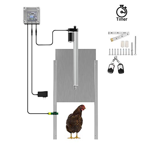 Lovinouse Upgraded Automatic Chicken Door Coop Opener Kit, with Timer Controller, Safety Sensor, 12V DC Actuator Motor