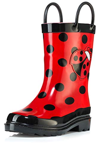 Puddle Play Kids Girls Ladybug Printed Waterproof Easy-On Rubber Rain Boots (Toddler/Little Kids)