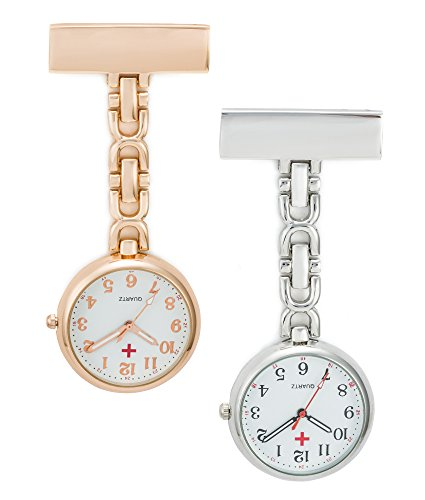 SEWOR Unisex Medical staff Hanging Pocket Watch 2pcs With Brand Leather Gift Box (Rose Gold & Sliver) by SEWOR
