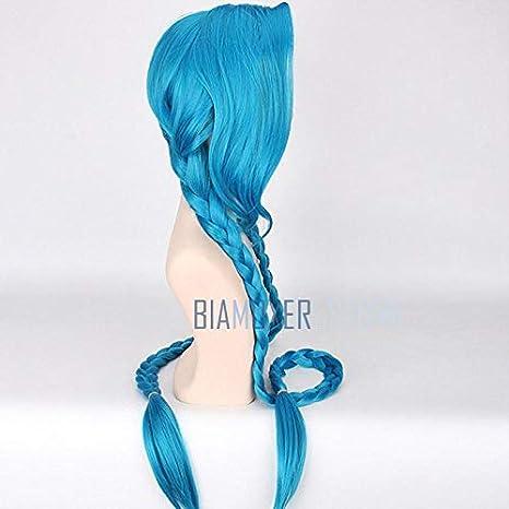 120 cm Lol Jinx Cosplay pelucas mujeres azul doble cola de caballo ...