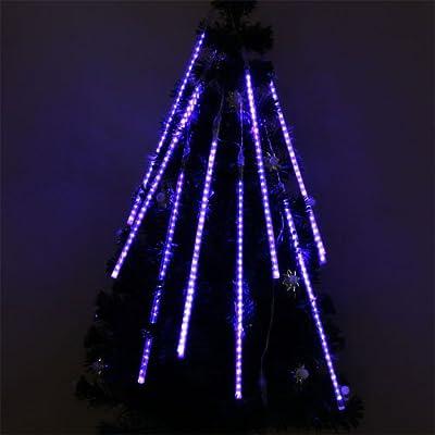 Perfect Holiday 50cm 8 Tubes 240 Leds Shower Meteor Rain Light Tube Christmas Holiday Decoration Lights, Blue Color