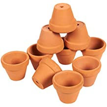 Set of 10 Small Terra Cotta Pots - Clay Flower Pots, Mini Flower Pot Planters for Indoor, Outdoor Plant, Succulent Display, Brown - 1 x 1.5 Inches
