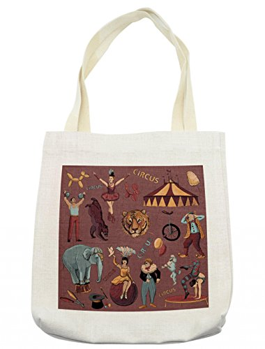 Lunarable Vintage Tote Bag, Retro Circus Print with Tent Tiger Head Balloons Dogs Art with Dark Coral Backdrop, Cloth Linen Reusable Bag for Shopping Groceries Books Beach Travel & More, - Tigers Tent