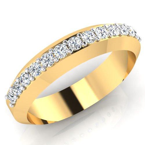Anillos de boda de diamante natural redondo de 0,39 quilates, oro amarillo de