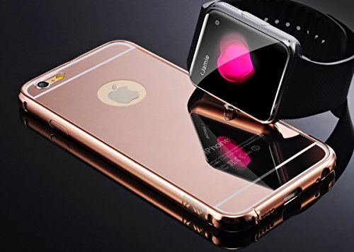Price comparison product image Rose Gold Mirror iPhone 5 5S Case, Umiko(TM) Clear Mirror With Metal Bumper Back Shell Hard Case Cover for iPhone 5 5S-Rose Gold