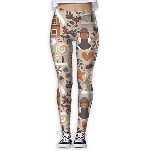 Yoga Pants, Women's Power Flex Gingerbread Tummy Control Workout Running ()