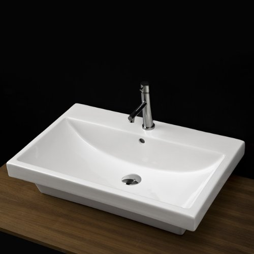 - wall-mounted porcelain Bathroom Sink with overflow and three faucet holes in 8