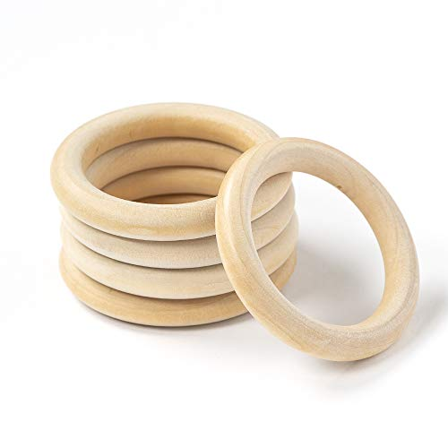 (Loren 5 Pieces Natural Wood Ring, Teether Ring, Large)