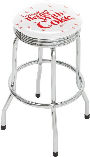 On The Edge 809096 Things Go Better With Coke Single Foot Ring Stool with Swivel (Bar Stool Single Foot Ring)