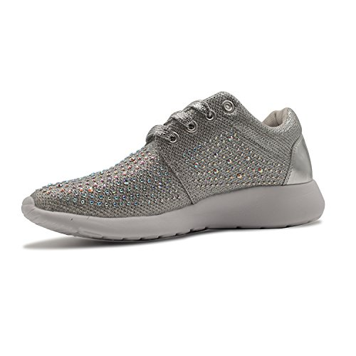 Trainers with Ladies Gym Pumps Size Sparkly Fitness Sneakers Womens Glitter Diamante Lace Up Silver 1XpwqWxFg