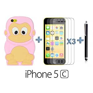 linJUN FENGOnlineBestDigital - Monkey Style 3D Silicon Case for Apple ipod touch 5 - Pink with 3 Screen Protectors and Stylus