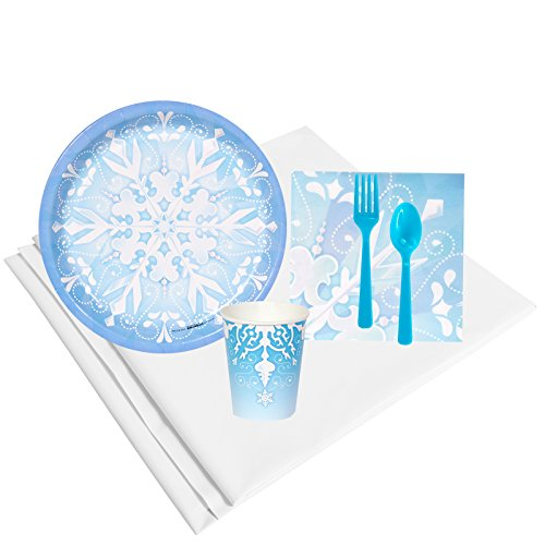 BirthdayExpress Snowflake Winter Wonderland Holiday Party Supplies - Tableware Party Pack (8) -