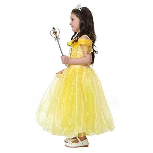Le Fête D'anniversaire Robe De Princesse Belle De Filles De Robe Costume De Robe De Bal D'un Jaune