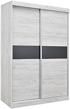 Armario con puertas correderas Bermeo 04, color roble blanco ...