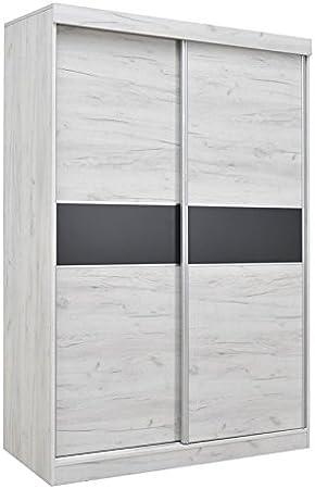 Armario con puertas correderas Bermeo 04, color roble blanco/antracita, 220 x 150 x 65 cm (alto x ancho x profundidad): Amazon.es: Bricolaje y herramientas