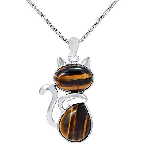 TUMBEELLUWA Stone Pendant Cat Healing Crystal Necklace Animal Energy Chakra Amulet Handmade Jewelry for Women,Tiger's Eye